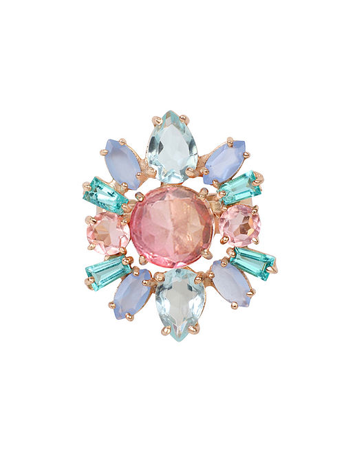 Pink-Blue Candy Cabana Statement Ring