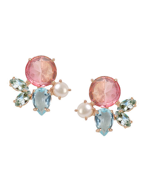 Pink-Blue Candy Cabana Melinda Stud Earrings
