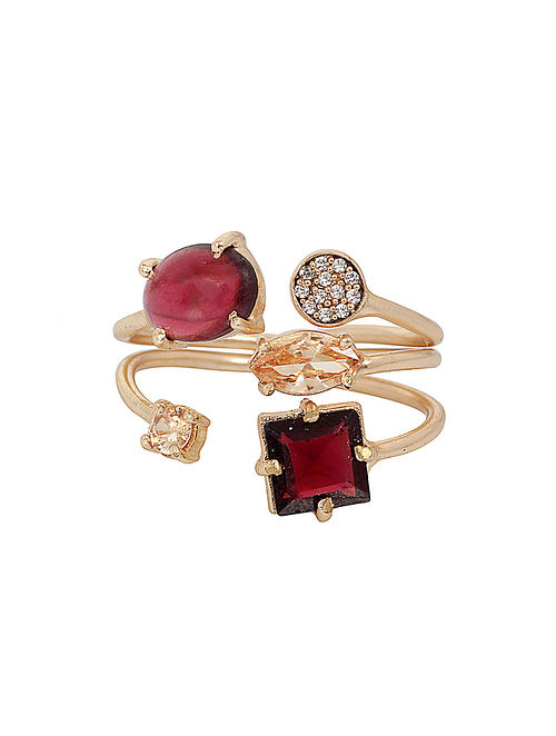 Wine Gold Plated Cluster Adjustable Ring