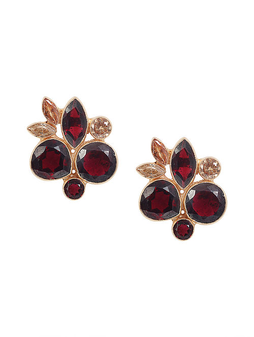 Wine Yellow Gold Plated Cluster Stud Earrings
