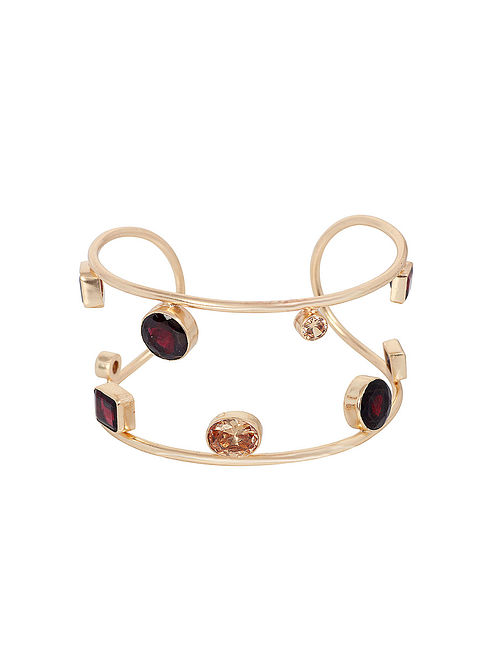 Wine Yellow Gold Plated Open Cuff