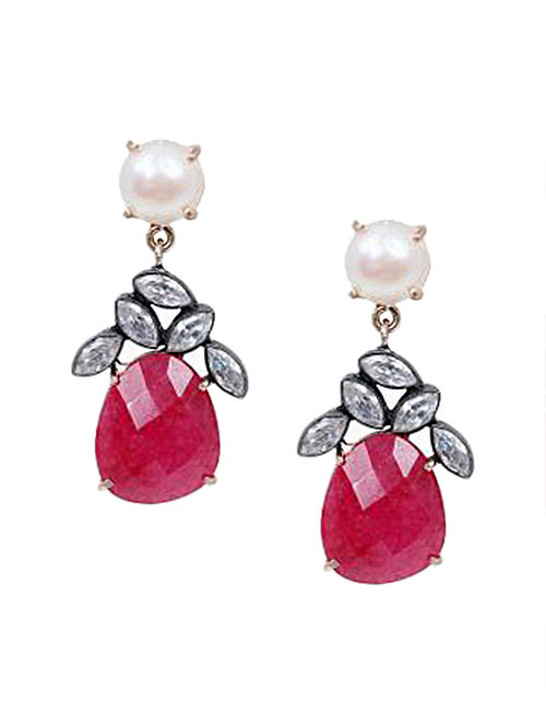 Red Pearl And Ruby Gold Plated Corrundum Shelly Drop Earrings