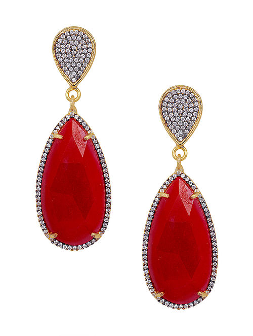 Ruby Corrundum Gold Plated Pave Large Drop Earrings