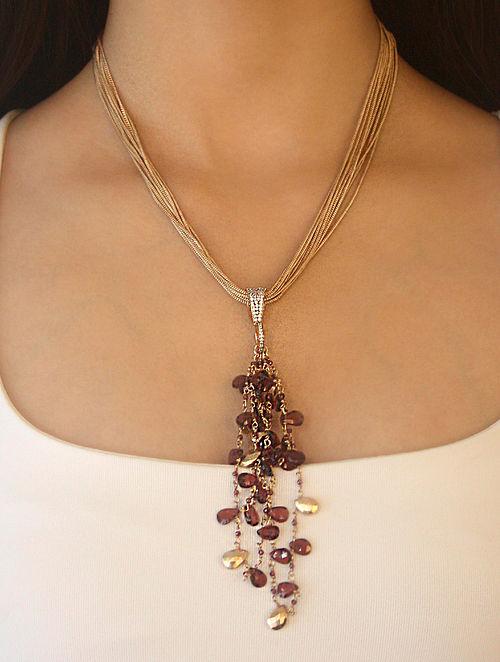 Wine Gold Plated Kaska Garnet Necklace