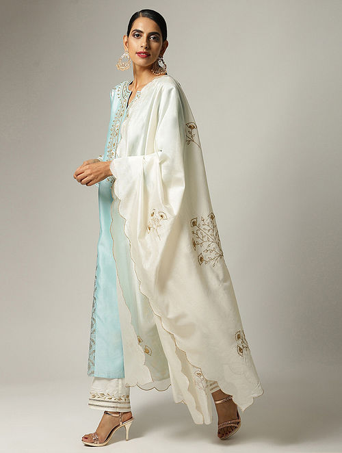 Ivory Embroidered Silk Chanderi Dupatta with Zari and Scallop Details