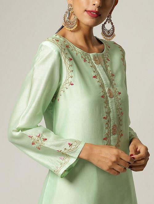 Green Embroidered Silk Chanderi Kurta