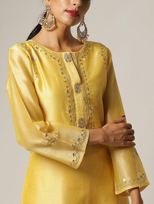 Yellow Embroidered Silk Chanderi Kurta
