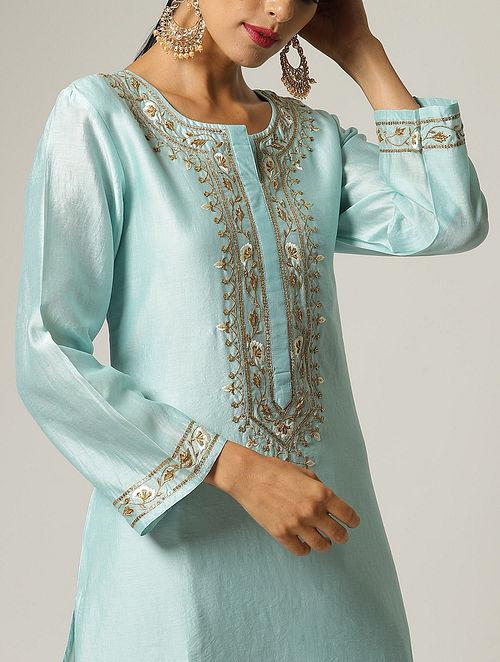 Blue Hand Embroidered Silk Chanderi Kurta