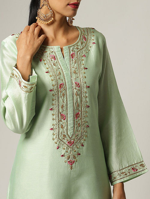 Green Hand Embroidered Silk Chanderi Kurta