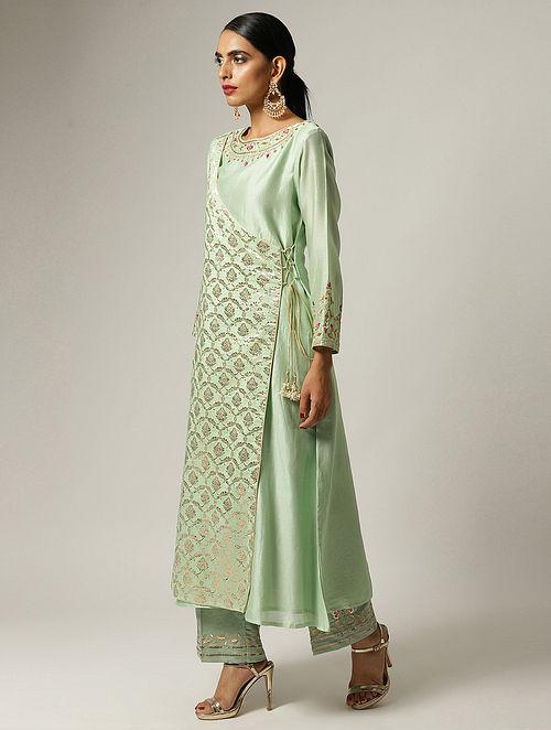 Green Hand Embroidered Silk Chanderi Angrakha Kurta