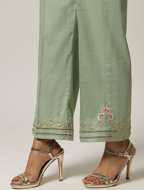 Green Embroidered Cotton Satin Palazzo with Sequins
