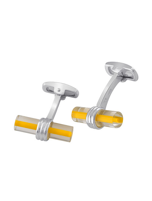 Yellow Glass Handcrafted Silver Cufflinks