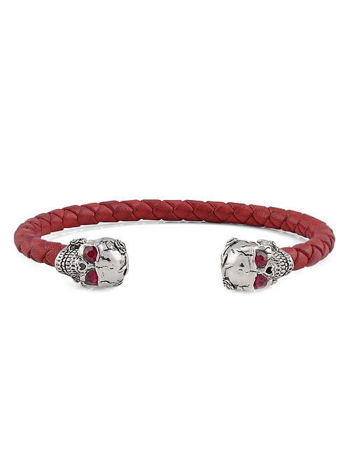 Red Glass Leather Braided Handcrafted Silver Cuff