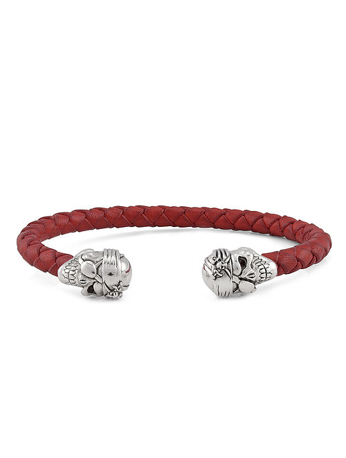 Red Leather Braided Handcrafted Silver Cuff