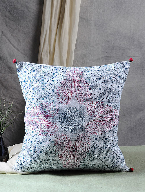 Multicolor Block Printed Cotton Cushion Cover (17in X 17in)