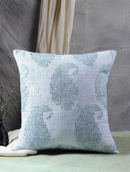 Multicolor Block Printed Cotton Cushion Cover (17in X 16.5in)