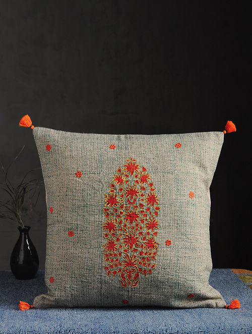 Multicolor Block Printed Linen Cushion Cover (16in X 16in)