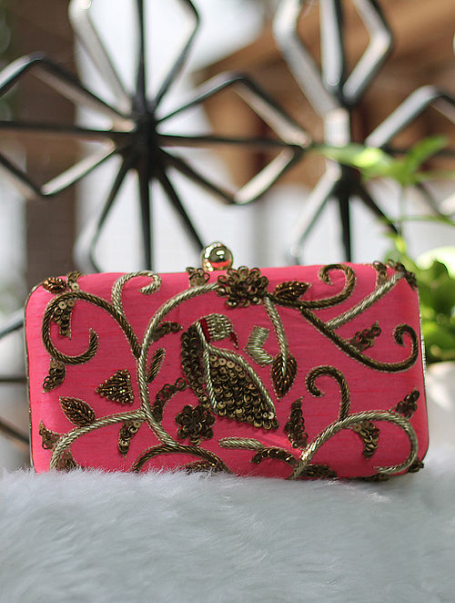 Pink Hand Embroidered Raw Silk Clutch