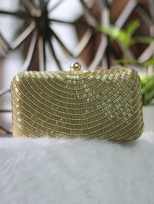 Gold Sequined Raw Silk Clutch
