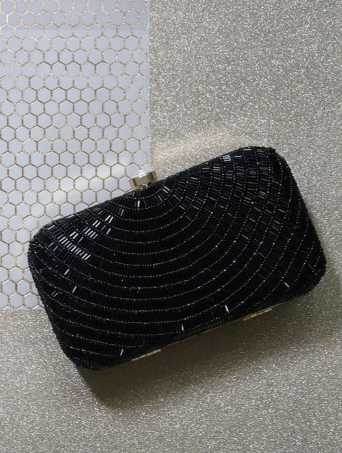 Black Sequined Raw Silk Clutch