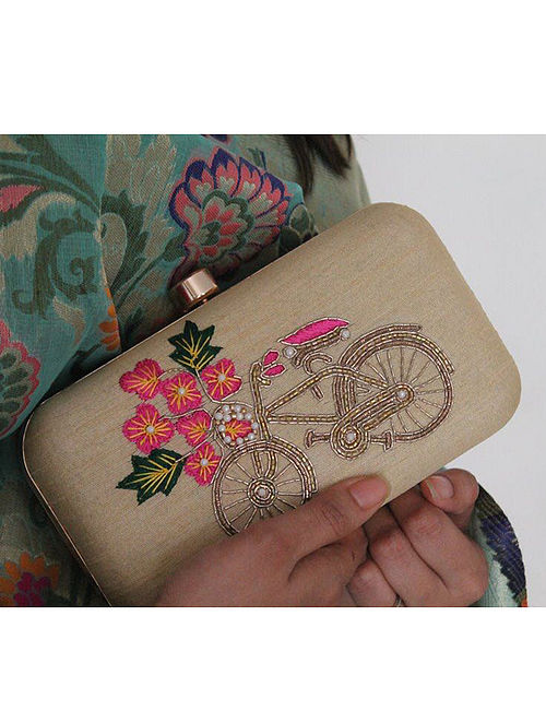 Gold Hand Embroidered Raw Silk Clutch