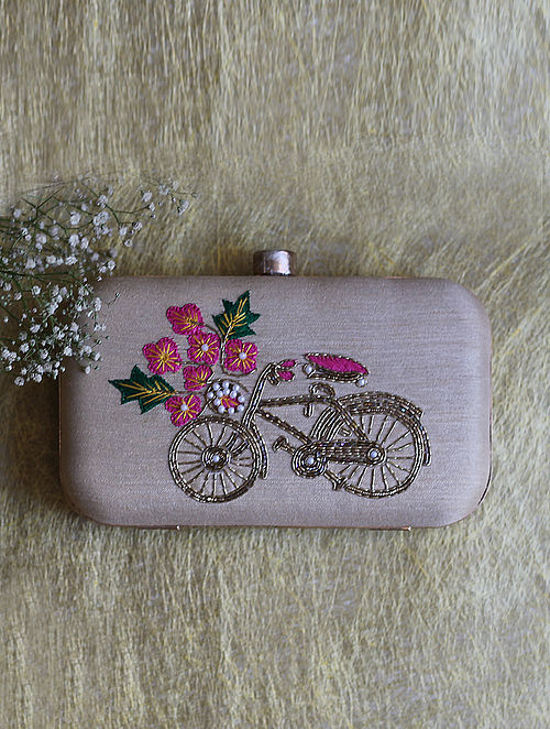 Light Pink Hand Embroidered Raw Silk Clutch