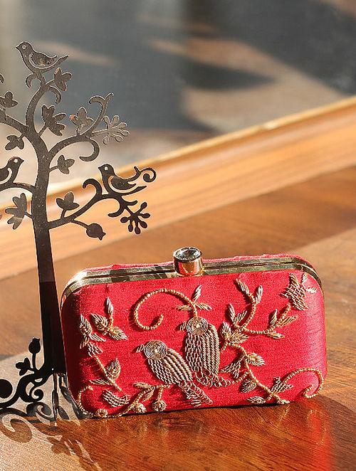 Red Hand Embroidered Raw Silk Clutch