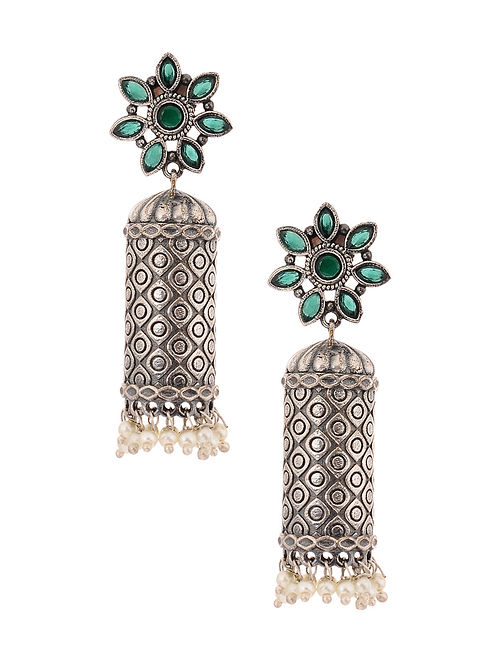 Green Silver Tone Jhumki Earrings with Pearls