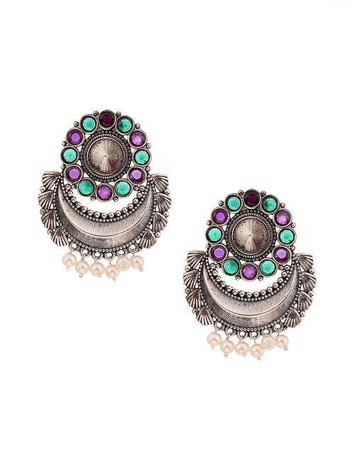 Green Pink Silver Tone Earrings