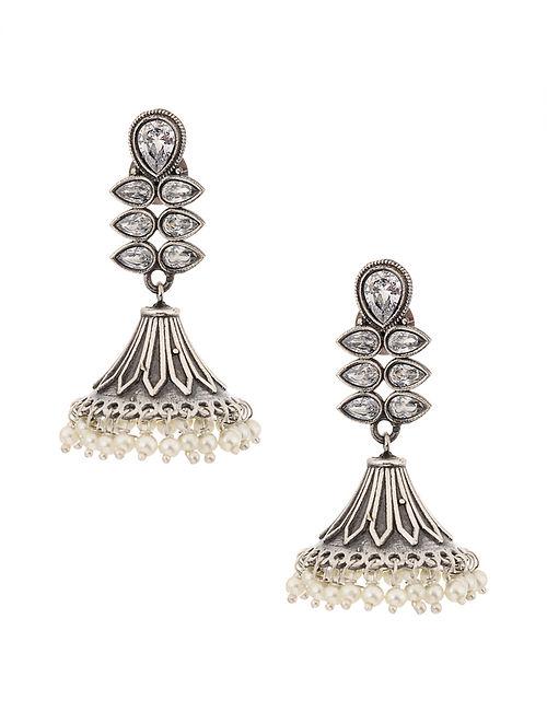 Silver Tone Jhumki Earrings with Pearls