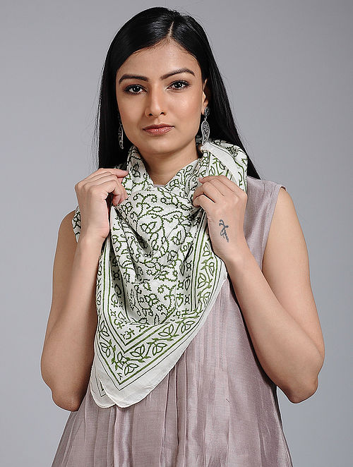 Ivory-Green Block-printed Cotton Scarf