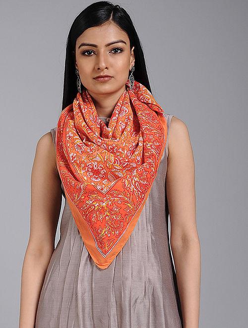 Orange-Ivory Block-printed Cotton Scarf