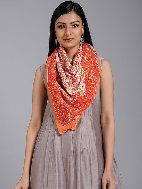 Red-Ivory Block-printed Cotton Scarf
