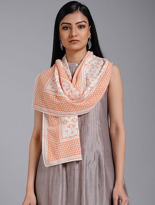 Ivory-Orange Block-printed Cotton Stole