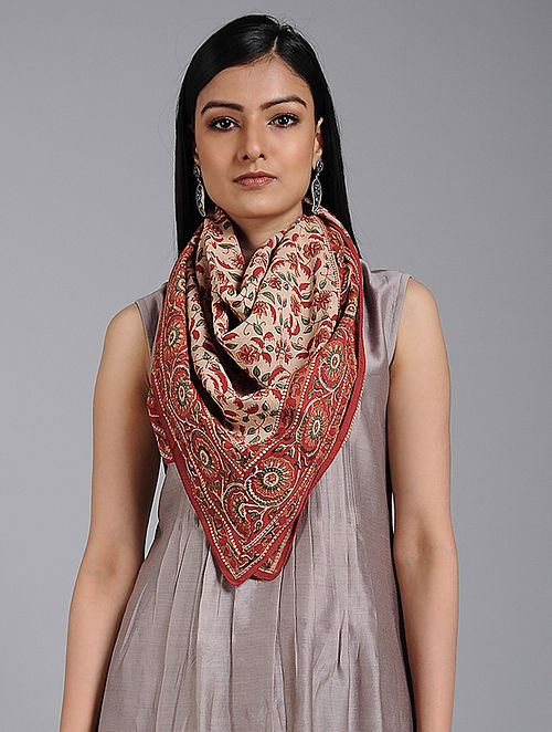 Ivory-Red Block-printed Cotton Scarf