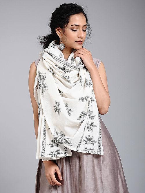 Ivory-Grey Block-printed Cotton Scarf