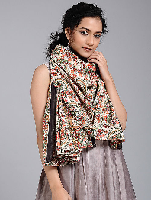 Red-Green Block-printed Cotton Scarf
