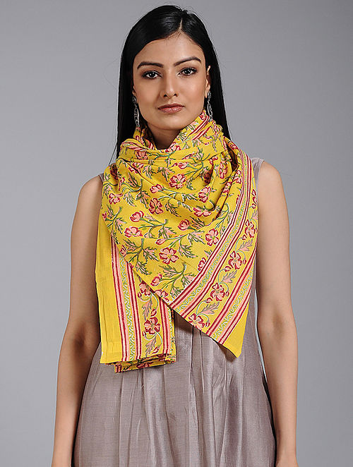 Yellow-Red Block-printed Cotton Scarf