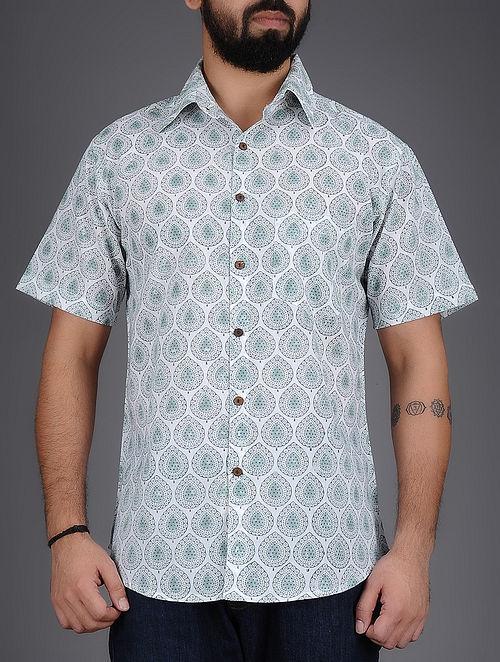 White-Grey Block-Printed Half Sleeves Cotton Shirt