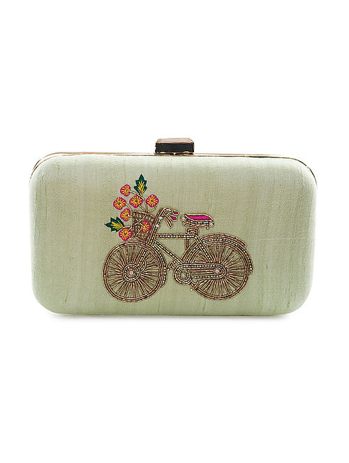 Yellow Hand-Embroidered Bicycle Motif Raw Silk Clutch