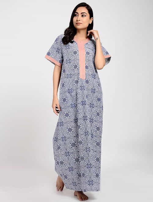 8942e2f3ee85 Buy Indigo Printed Cotton Kaftan Online at Jaypore.com