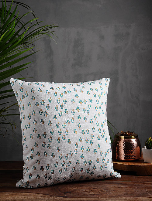 Floral Lane Aqua and Gold Cotton Cushion Cover (16in x 16in)