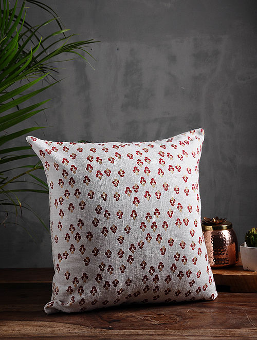 Floral Lane Red and Gold Cotton Cushion Cover (16in x 16in)