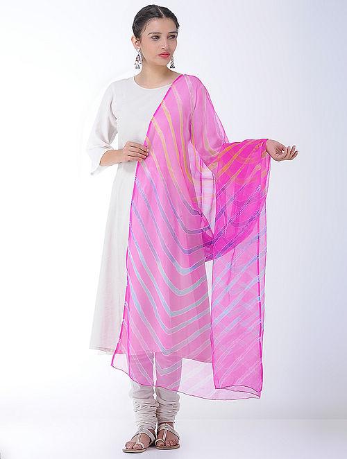 7d1cf47ef82 Buy Pink-Blue Leheriya Georgette Dupatta Online at Jaypore.com