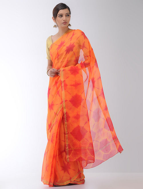 9d69d4a0b1488 Buy Orange-Red Clamp-dyed Kota Silk Saree with Zari Border Online ...