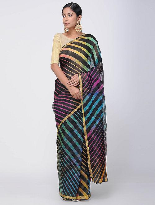 4c9f9df0820e9 Buy Black-Blue Leheriya Kota Silk Saree with Zari Border Online at ...