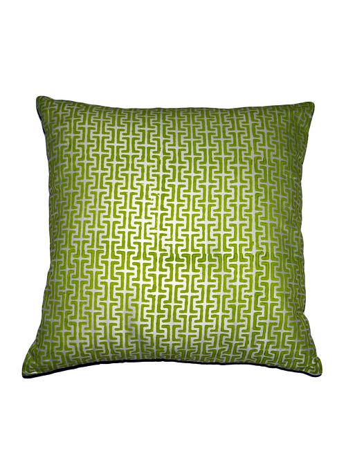 Screen Block-Printed Silk Cushion Cover - 19in x 19in