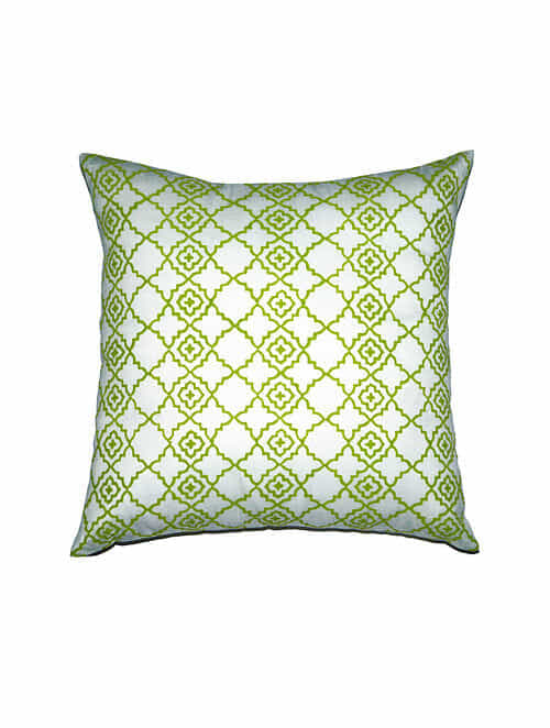 Jaali Block-Printed Silk Cushion Cover  - 16in x 16in