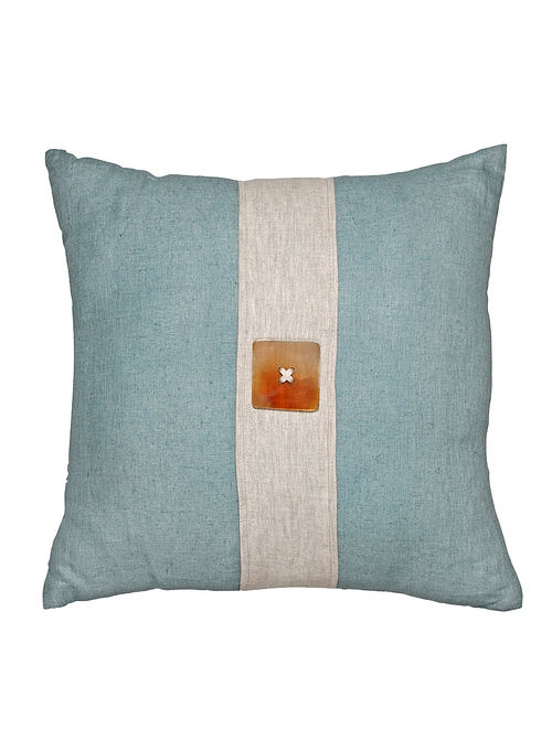 Horn Button Embellished Linen Cushion Cover - 20in x 20in