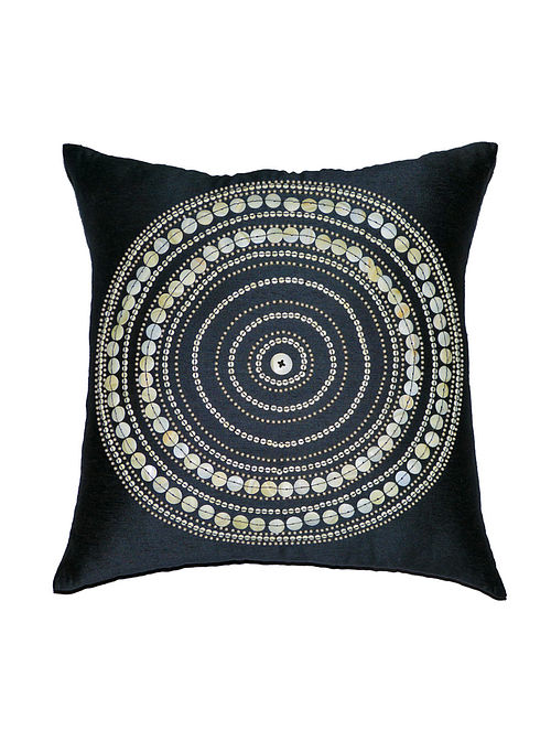 Bulls Eye Embellished Viscose-Polyester Cushion Cover - 18in x 18in